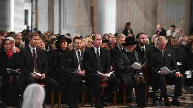prinz harry prinz william prinz charles kate middleton camilla trauerfeier london st. paul's cathedral