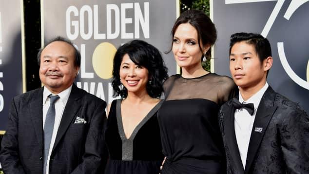 Rithy Panh, Aktivistin Loung Ung, Angelina Jolie und Pax Jolie-Pitt, Golden Globes