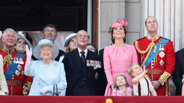 Die Britische Königsfamilie bei der Trooping the Colour Parade
