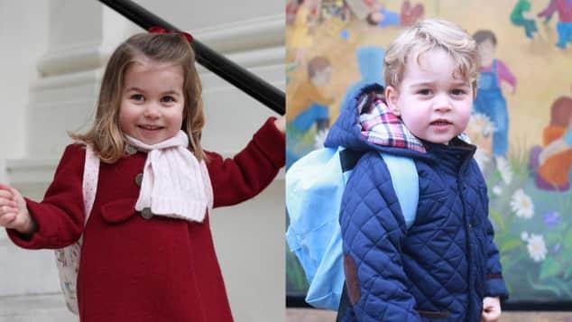 Prinz George und Prinzessin Charlotte an ihren jeweiligen ersten Tagen des Kindergartens, Kensington Palst, Prinz William, Herzogin Catherine