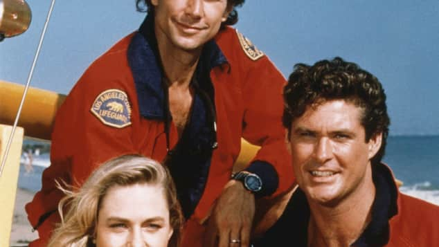 The stars of Baywatch: Erika Eleniak, Parker Stevenson and David Hasselhoff.