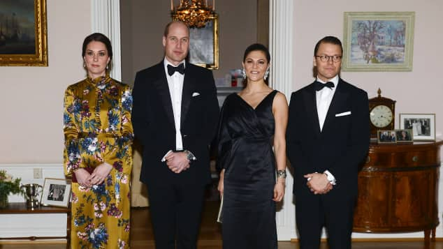 Herzogin Kate, Prinz William, Prinzessin Victoria und Prinz Daniel beim royalen Dinner in Stockholm, Skandinavien-Tour