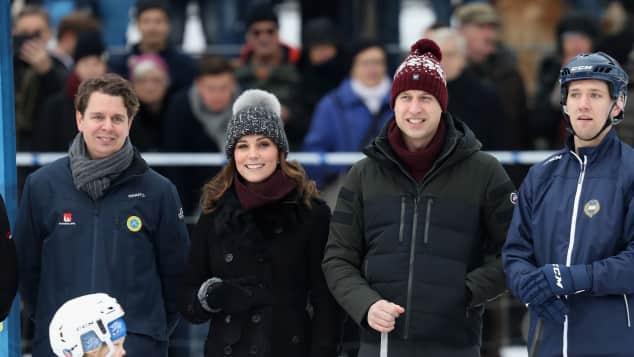 Herzogin Kate und Prinz William beim Bandy-Hockey in Stockholm, offizielle Skandinavien-Tour