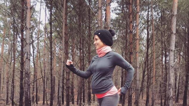 Isabell Horn ist auch mit Babykugel sportlich unterwegs