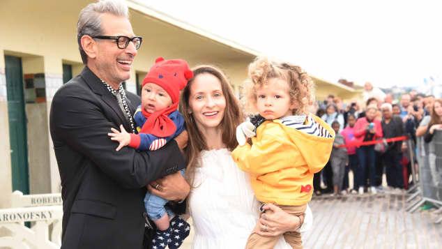 Jeff Goldblum und Emilie Livingston mit ihren Kindern River Joe und Charlie Ocean 2017