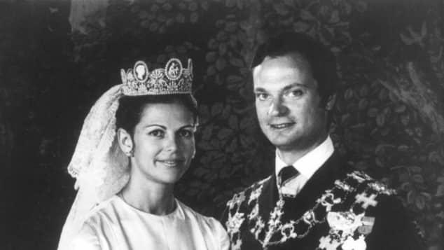Königin Silvia und König Carl Gustav bei ihrer Heirat 1976