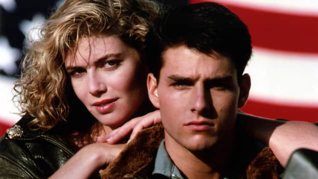 Kelly McGillis and Tom Cruise in Top Gun.