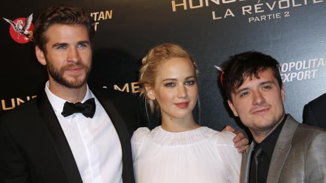 Liam Hemsworth, Jennifer Lawrence und Josh Hutcherson in Paris