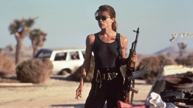 "Linda Hamilton als die taffe Action-Heldin ""Sarah Connor"" in ""Terminator II - Tag der Abrechnung"""