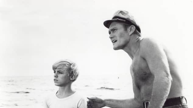 "Luke Halpin and Chuck Connors in ""Flipper"""