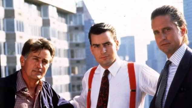 "Martin Sheen, Charlie Sheen und Michael Douglas in ""Wall Street"""