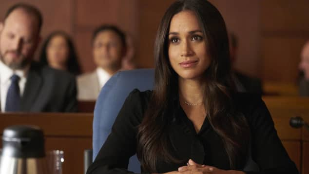 "Meghan Markle in ihrer Rolle als ""Rachel Zane"" in ""Suits"", siebte Staffel,  Ausstieg"
