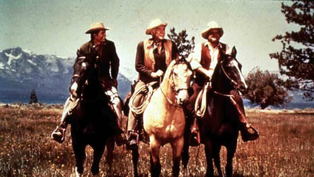 "Michael Landon, Lorne Greene und Dan Blocker aus ""Bonanza"" 1969"