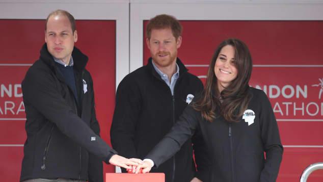Prinz William, Prinz Harry und Herzogin Catherine 2017 beim London Marathon