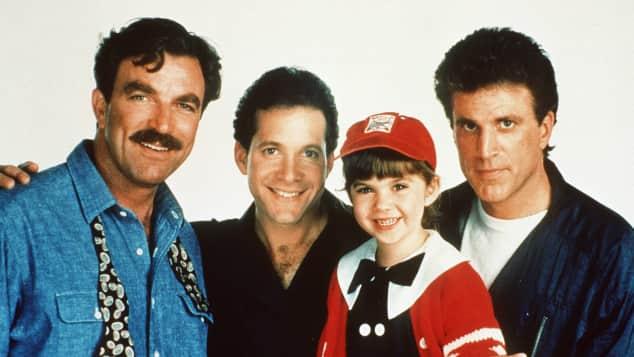 """Tom Selleck, Steve Guttenberg, Robin Weisman und Ted Danson in """"Drei Männer und eine kleine Lady"""""""
