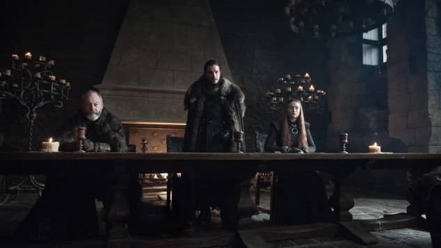 """Ser Davos"" (Liam Cunningham), ""Jon Snow"" (Kit Harrington, M.) und ""Sansa"" (Sophie Turner) in ""Game of Thrones"""