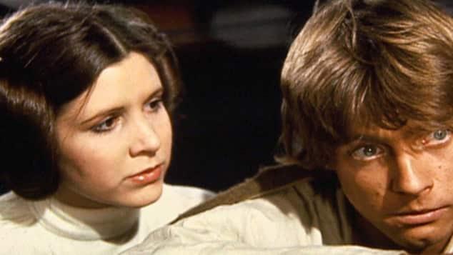 """""""Prinzessin Leia"""" (Carrie Fisher) und """"Luke Skywalker"""" (Mark Hamill) aus """"Star Wars"""""""