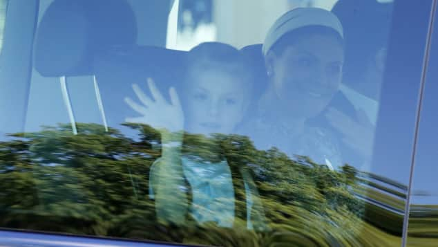 Prinzessin Estelle und Kronprinzessin Victoria erscheinen zur Taufe von Adrienne von Schweden