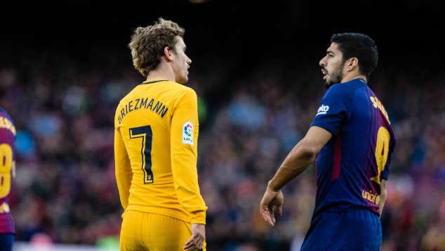 Luis Suarez (rechts) stichelt gegen Antoine Griezmann