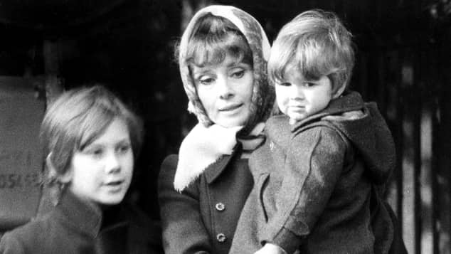 Audrey Hepburn with her sons Sean Ferrer and Luca Dotti in 1972.