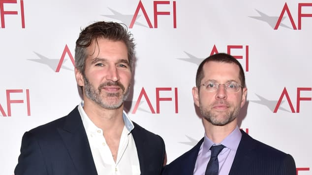 David Benioff and D.B. Weiss on the red carpet at the 2018 AFI fest.