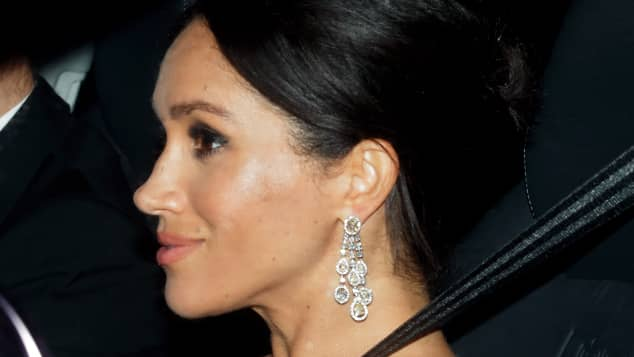 Duchess Meghan on her way to Prince Charles's 70th birthday party at Buckingham Palace