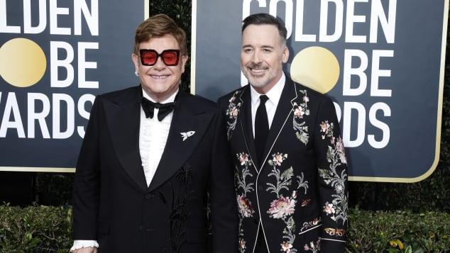 Elton John und David Furnish bei den Golden Globes 2020