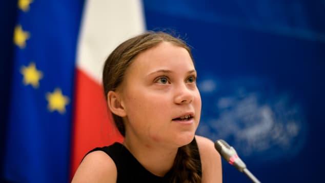 Greta Thunberg bei einer französischen Klimakonferenz 2019