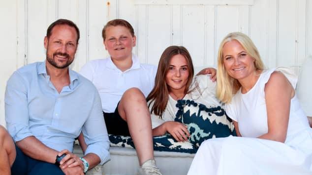 Prinz Haakon, Prinz Sverre Magnus, Prinzessin Ingrid Alexandra und Prinzessin Mette-Marit