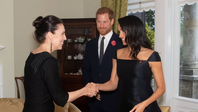 The Duke and Duchess of Sussex meet New Zealand's Prime Minister Jacinda Ardern