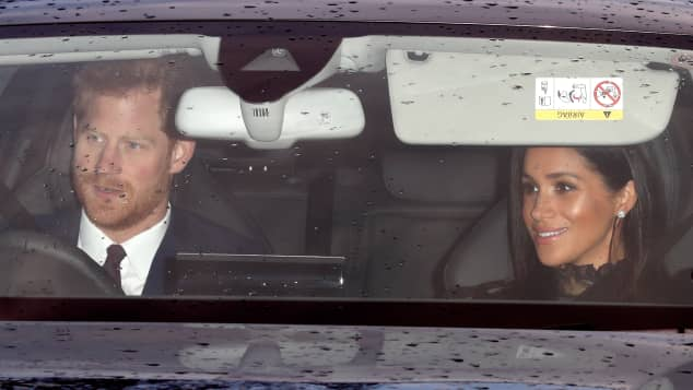 Harry and Meghan arrive for the Queen's Christmas lunch at Buckingham Palace