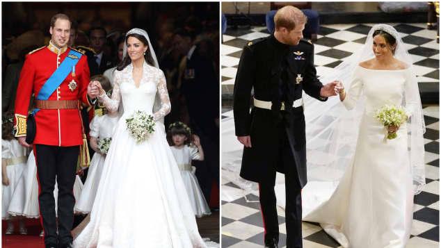 Prinz William und Herzogin Kate und Prinz Harry und Herzogin Meghan an ihren Hochzeiten