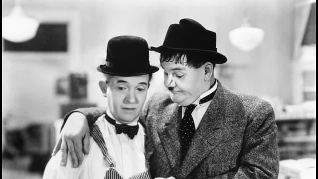"""Stan Laurel und Oliver Hardy bekannt als """"Dick und Doof"""""""