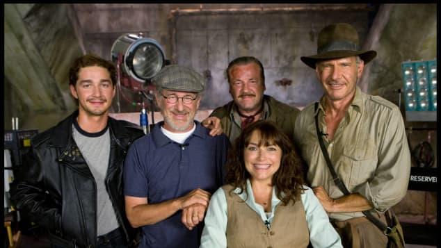 """""""Indiana Jones""""-Stars und Regisseur: Shia LaBeouf, Steven Spielberg, Ray Winstone, Karen Allen und Harrison Ford"""
