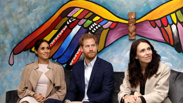 The Duke and Duchess of Sussex and New Zealand's Prime Minister Jacinda Ardern