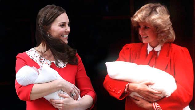 Herzogin Kate und Lady Diana nach der Geburt ihrer Kinder