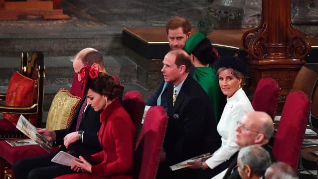 Herzogin Kate, Prinz William, Prinz Harry und Herzogin Meghan in der Westminster Abbey