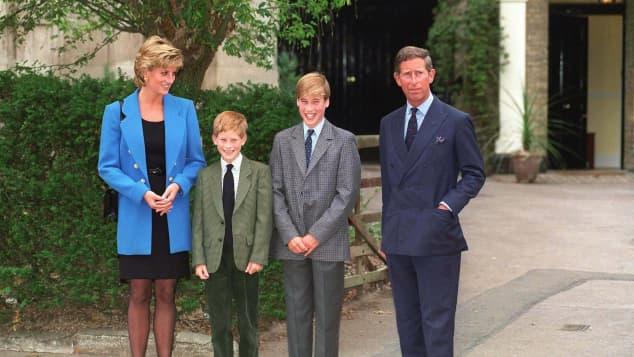 Lady Diana, Prinz Harry, Prinz William und Prinz Charles