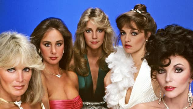 The women of Dynasty: Linda Evans, Pamela Bellwood, Heather Locklear, Pamela Sue Martin and Joan Collins