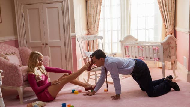 "Margot Robbie and Leonardo DiCaprio in ""The Wolf of Wall Street"""