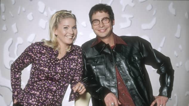 """Aleksandra Bechtel und Matthias Opdenhövel für """"Bitte lächeln"""" 1997"""