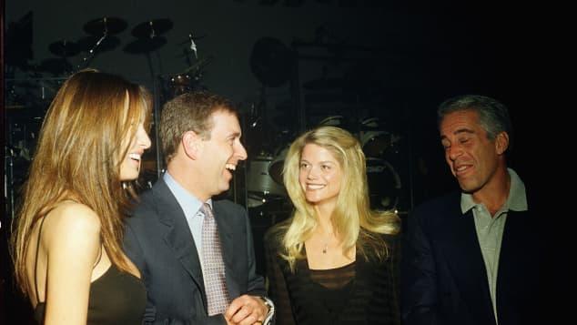 Melania Trump, Prince Andrew, Gwendolyn Beck und Jeffrey Epstein 2000