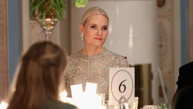 Kronprinzessin Mette-Marit von Norwegen 2018 beim Dinner