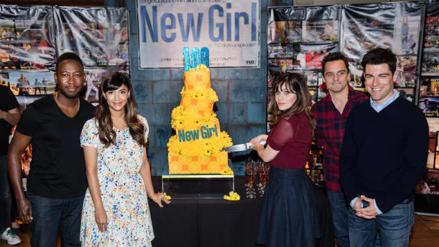 """New Girl""-Darsteller: Lamorne Morris, Hannah Simone, Zooey Deschanel, Jake Johnson and Max Greenfield"