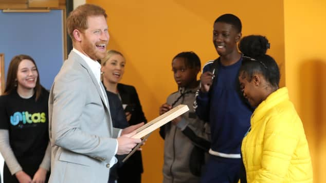 Prince Harry having fun at the opening of the Youth Zone in London.