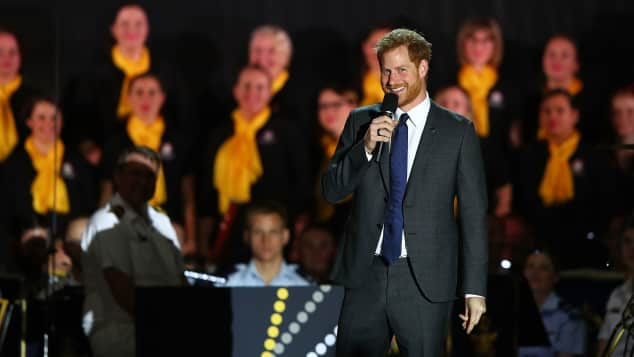 Prince Harry speaks during the Invictus Games Sydney at Sydney Opera House