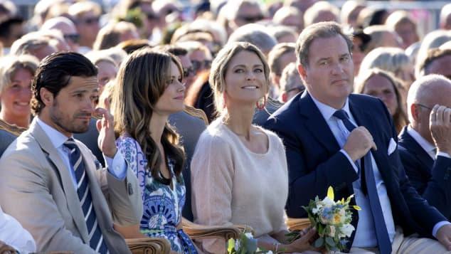 Prinz Carl Philip und Prinzessin Sofia und Prinzessin Madeleine und Christopher O`Neill