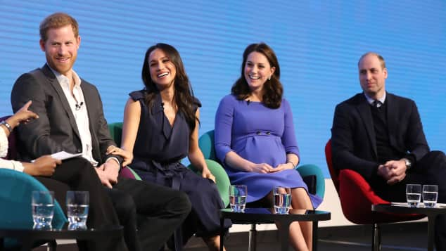 Prinz Harry, Meghan Markle, Herzogin Kate und Prinz William im Februar 2018 beim Royal Foundation Forum in London