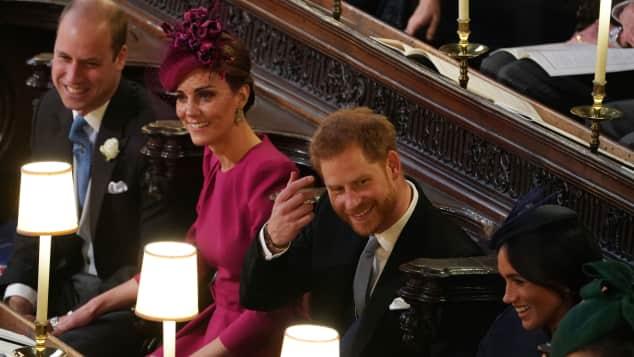 Prinz William, Herzogin Kate, Prinz Harry und Herzogin Meghan bei der Hochzeit von Eugenie
