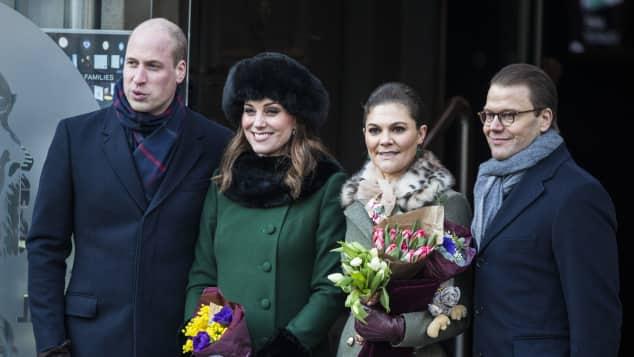 Prinz William, Herzogin Kate, Prinzessin Victoria und Prinz Daniel in Schweden